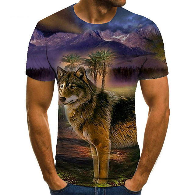 Men's T shirt 3D Print Animal 3D Print Print Short Sleeve Casual Tops Casual Fashion Green / Black