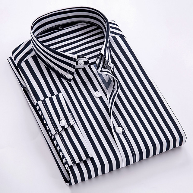 Men's Shirt Other Prints Striped Print Half Sleeve Daily Tops Business Simple White Black Red