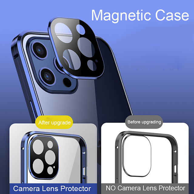 Coque 360 Magnetic Adsorption Case For iPhone 12 Mini 12 Pro MAX 11 Pro Case Metal Bumper Tempered Glass Cover Camera Lens Protector Film Clear Full Body Protection Mobile Phone Case