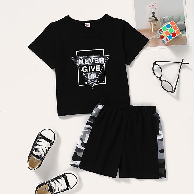أطفال طفل صغير للفتيات مجموعة ملابس الرسم كم قصير طباعة مناسب للبس اليومي أسود نشيط عادية فوق الركبة 2-8 سنوات
