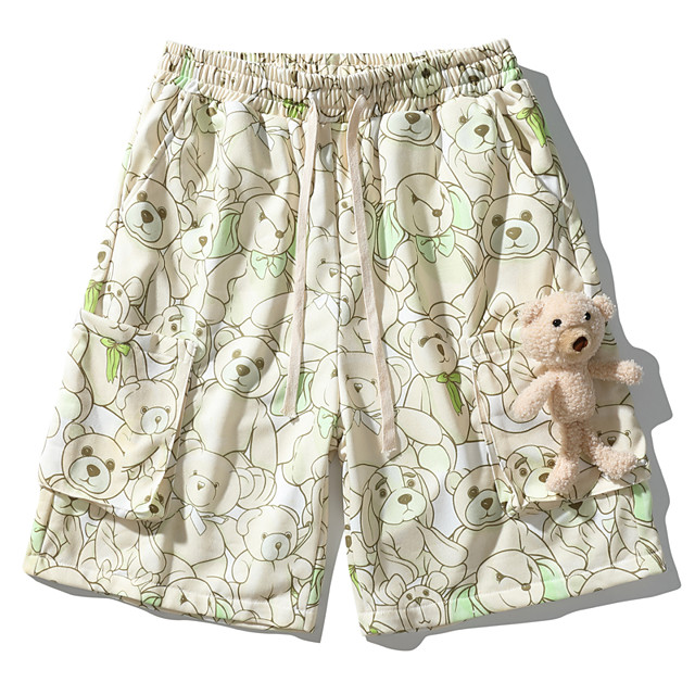 Cartoon Casual / Sporty Men's Shorts Daily Holiday Pants Short Bear Drawstring Pocket Print Light Green