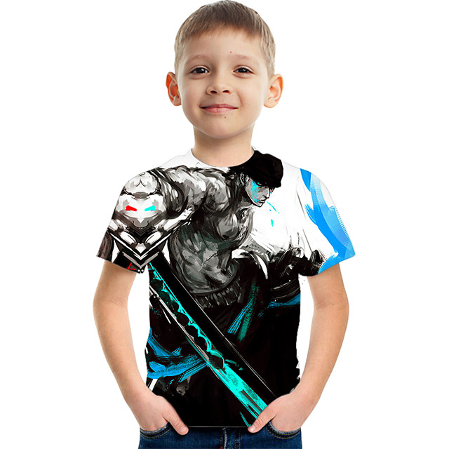 Kids Boys' T shirt Tee Short Sleeve Graphic Children Tops Active Black 3-12 Years