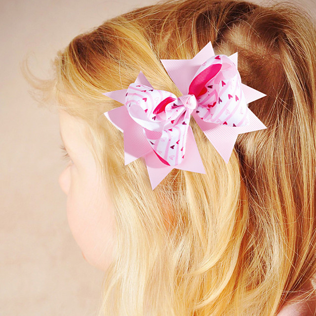 1pcs Toddler Girls' Active / Sweet Vacation Red Geometric Bow Polyester Hair Accessories White / Black / Purple One-Size