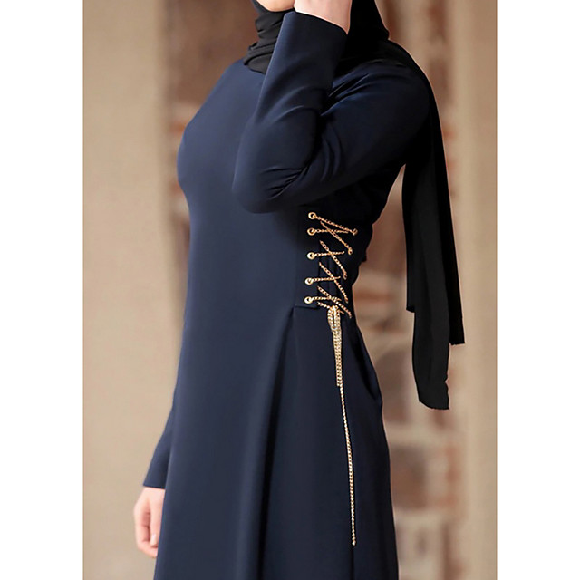Women's A Line Dress Maxi long Dress Wine Navy Blue Long Sleeve Solid Color Patchwork Summer Round Neck Casual 2021 M L XL XXL 3XL 4XL