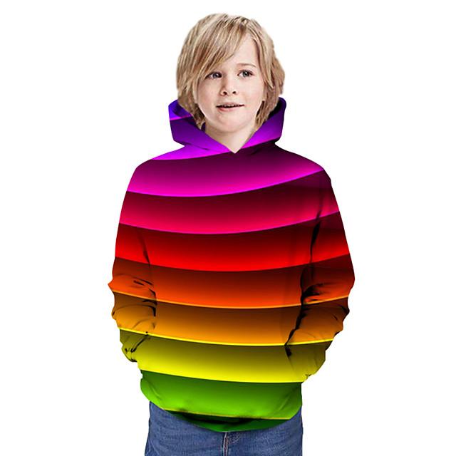 أطفال للصبيان كنزة بقبعة كم طويل قوس قزح الرسم 3D طباعة أطفال قمم نشيط التقزح اللوني