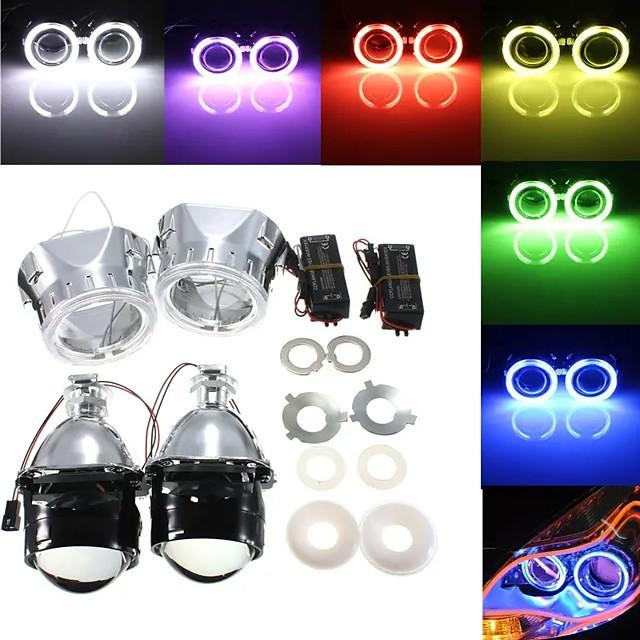 otolampara 2 x 2,5 pouces h1 / h4 / h7 bi-xénon caché kit de conversion de phares de projecteur avec objectif ccfl angel eyes halo anneau lumières carénage gauche # 1 / droite # 2 en option