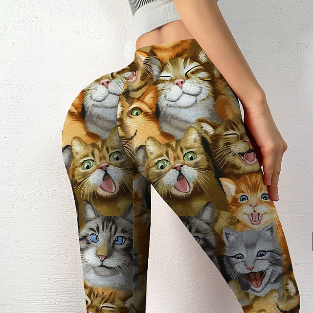 Women's Colorful Fashion Comfort Weekend Gym Leggings Pants Cat Color Block Ankle-Length Sporty Elastic Waist Print Yellow