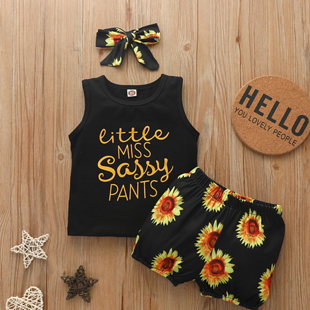 Toddler Girls' Clothing Set Daily Wear Sun Flower Floral Letter Print Sleeveless Basic Regular Black Yellow 2-8 Years