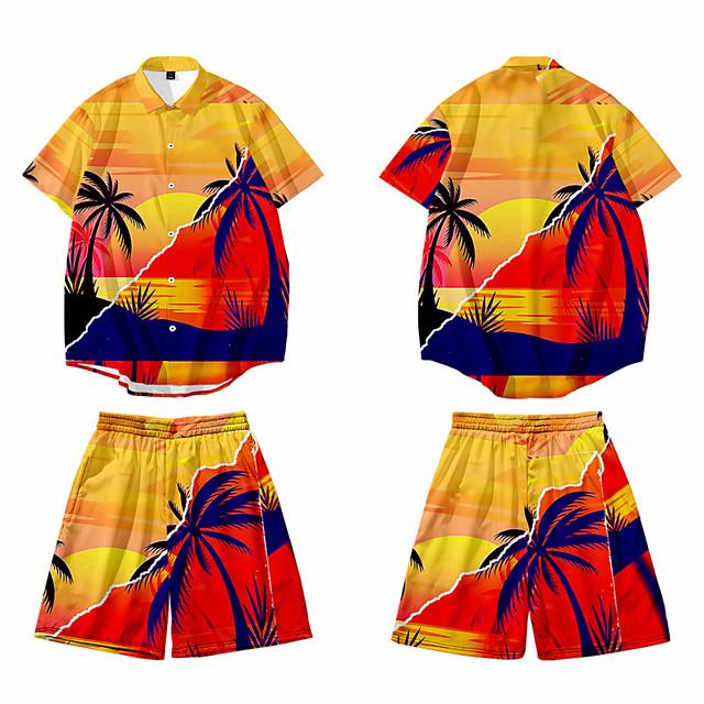 Men's Shirt 3D Print Graphic 3D Button-Down 3D Print Short Sleeve Casual Tops Casual Hawaiian Orange