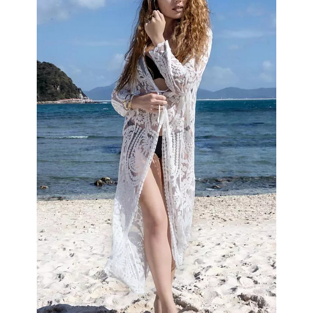 Women's Swimsuit Cover Up Swimsuit Tassel Hole Solid Color White Swimwear T shirt Dress Tunic Plunge Bathing Suits New Fashion Sexy