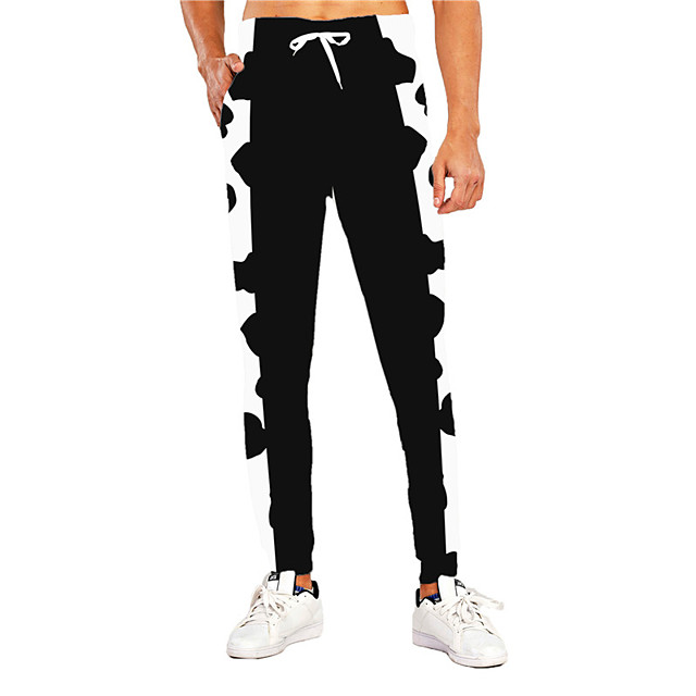 Casual Athleisure Men's Outdoor Sports Pants Sweatpants Trousers Daily Sports Pants Full Length Graphic Prints Drawstring Print Black