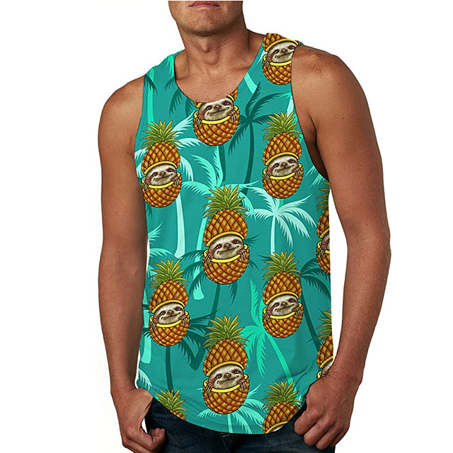 Men's Tank Top Vest Undershirt 3D Print Pineapple 3D Print Sleeveless Daily Tops Casual Beach Green