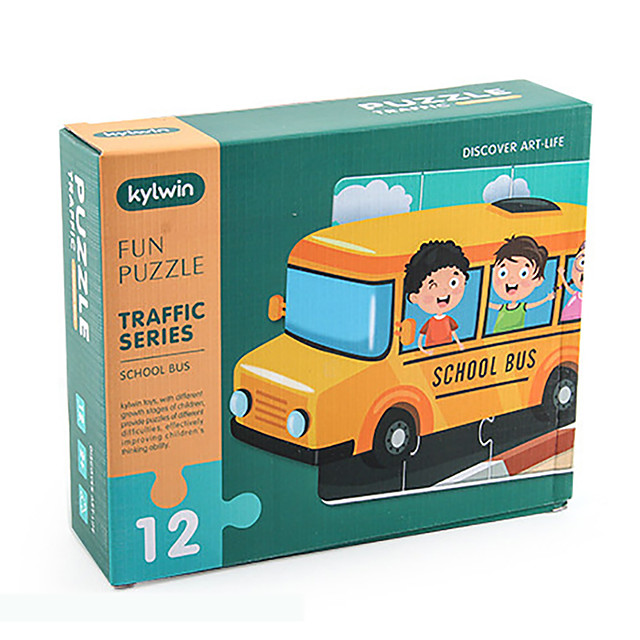 12 pcs Bus Jigsaw Puzzle Educational Toy Gift Adorable Parent-Child Interaction Cardboard Paper Kid's Child's Toy Gift