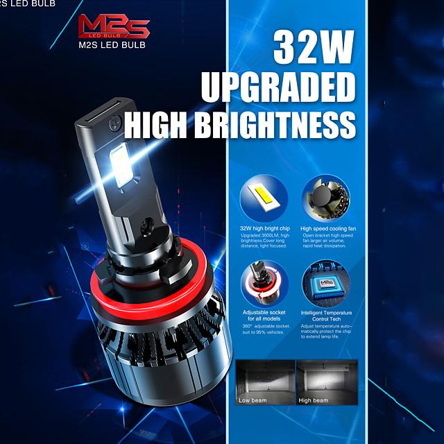 Automatique LED Lampe Frontale H4 / H11 / 9005 Ampoules électriques 6000 lm 32 W Pour Universel Toutes les Années 2 pièces