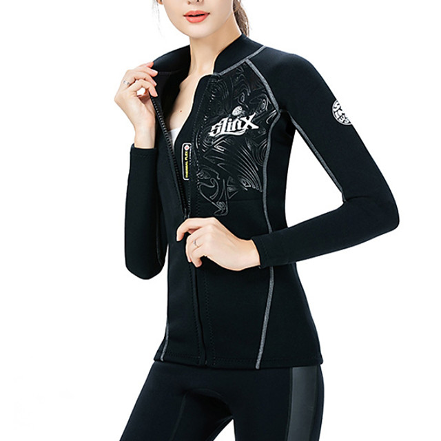 Women's One Piece Rash Guard Swimsuit UV Protection Quick Dry Water Sports Solid Color Stripe Black Swimwear Bodysuit High Neck Bathing Suits New Neutral Sports / Diving / Zipper / Swimwear Tops