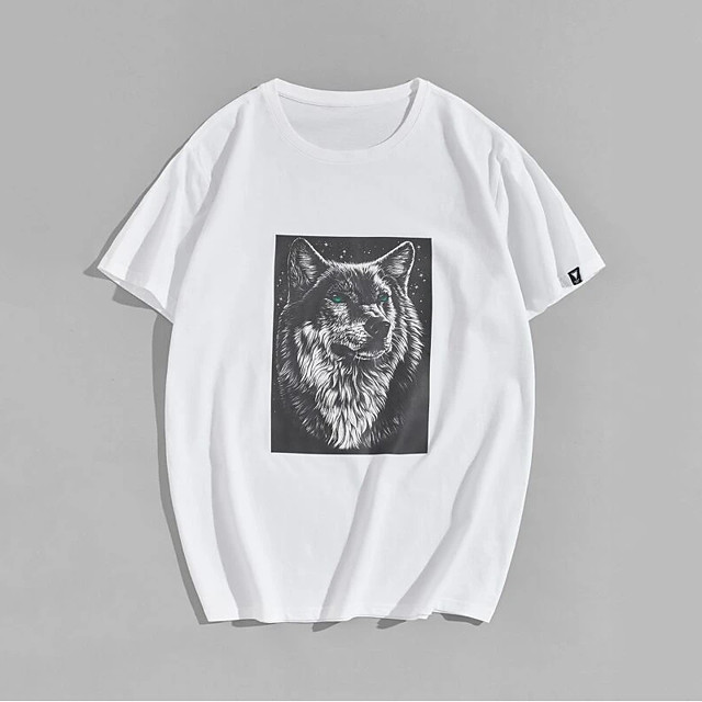 Men's Unisex T shirt Hot Stamping Wolf Animal Plus Size Print Short Sleeve Casual Tops 100% Cotton Basic Casual Fashion White