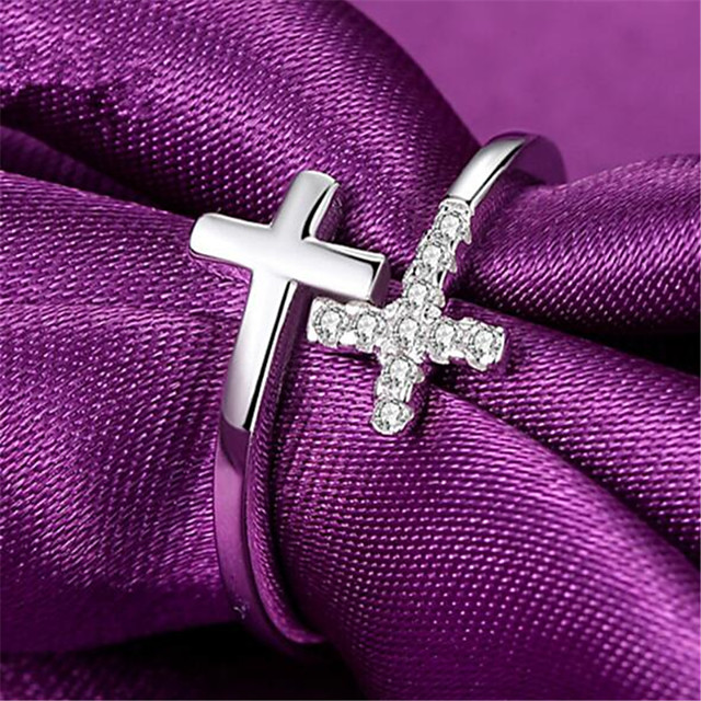 Ring Geometrical Silver Zircon Copper Silver-Plated Cross Precious Fashion 1pc Adjustable / Women's / Open Cuff Ring / Adjustable Ring