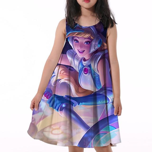 أطفال القليل للفتيات فستان الرسم طباعة أزرق طول الركبة بدون كم نشيط فساتين الصيف عادي 5-12 سنة