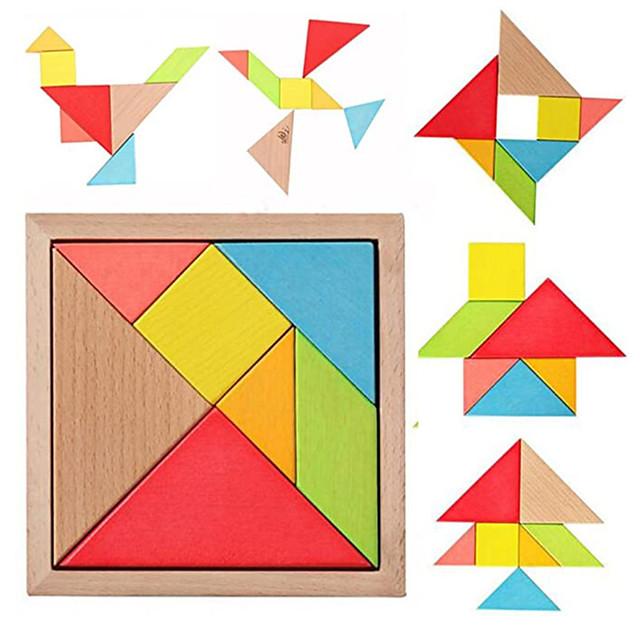 مونتيسوري خشبية تانجرام 7 قطع اللغز الملونة مربع الذكاء لعبة الدماغ دعابة ألعاب تعليمية ذكية للأطفال