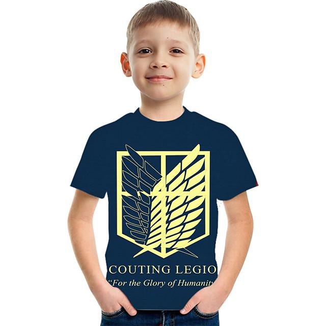 Kids Boys' T shirt Tee Short Sleeve Graphic Children Tops Active Blue 3-12 Years