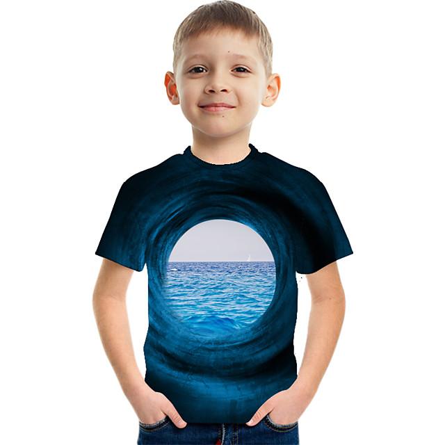Kids Boys' Tee Short Sleeve Graphic 3D Children Tops Active Blue