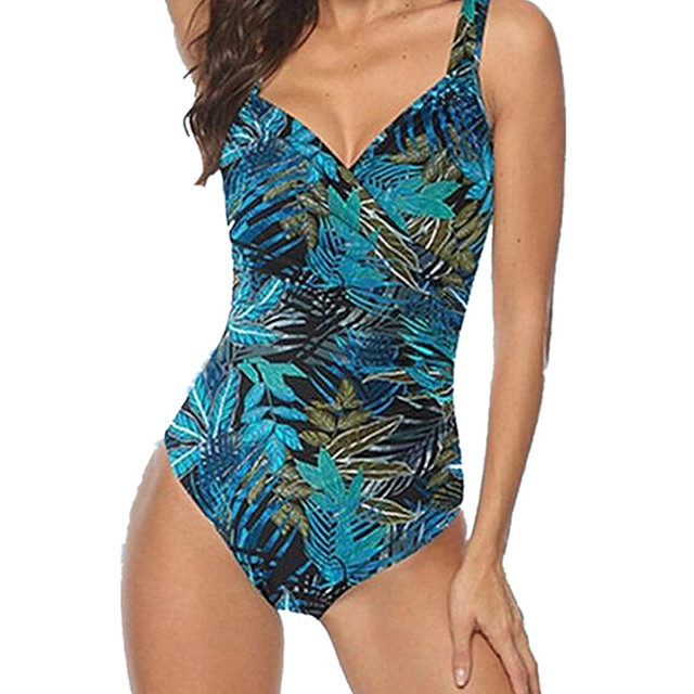 Women's One Piece Monokini Swimsuit Open Back Slim Tropical Leaf Green Swimwear Padded Bodysuit V Wire Bathing Suits New Fashion Sexy