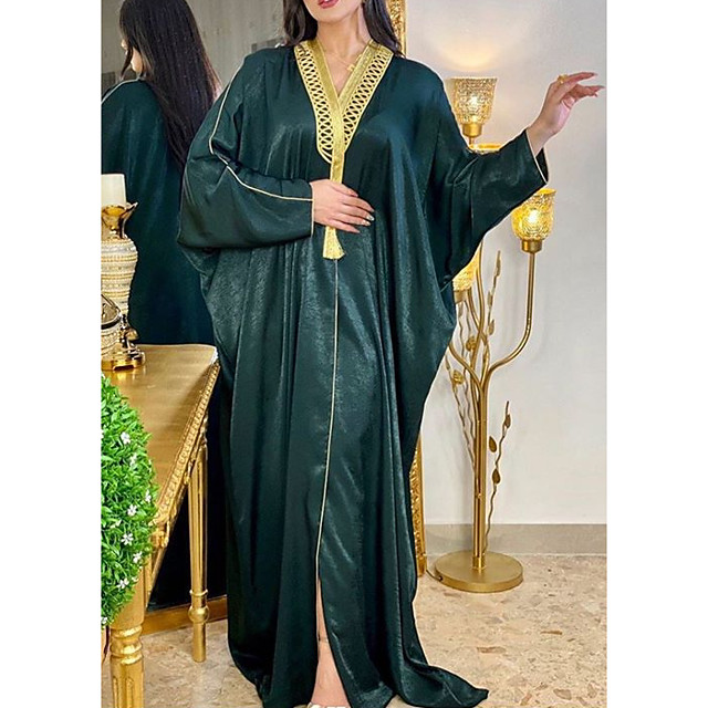 Women's Kaftan Dress Maxi long Dress Red Green Long Sleeve Solid Color Patchwork Summer Round Neck Casual 2021 One-Size