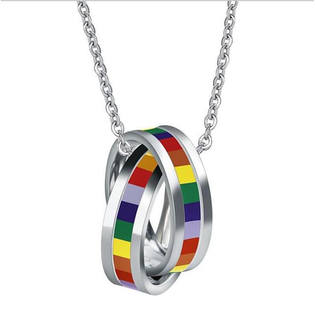 Women's Men's Resin Pendant Necklace Classic Rainbow Fashion Titanium Steel Rainbow 50 cm Necklace Jewelry 1pc For Anniversary Street Birthday Party Festival