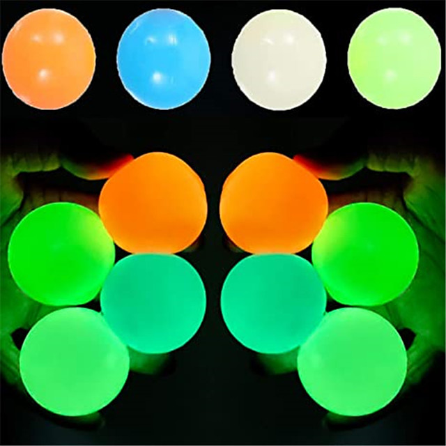 Sensory Fidget Toy Sticky Ceiling Balls Stress Reliever 4-8 pcs Ball Glow in the Dark Luminescent Silicone For Kid's Adults' Boys and Girls
