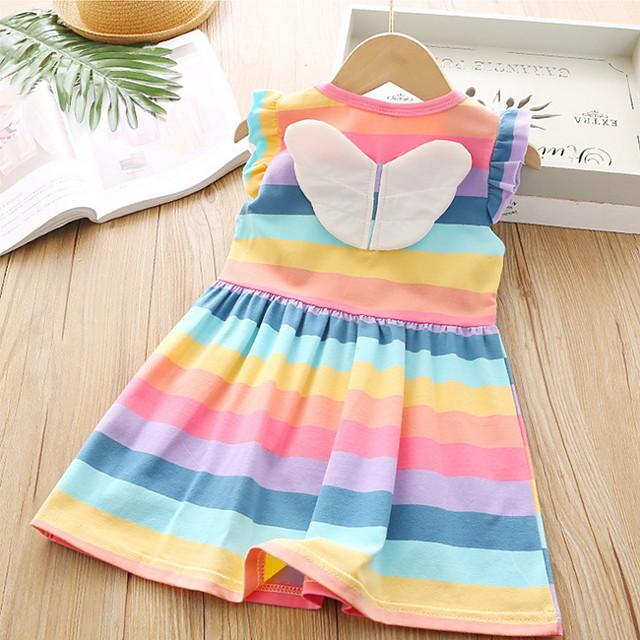 أطفال القليل للفتيات فستان قوس قزح مخطط قطن التقزح اللوني فوق الركبة بدون كم أساسي فساتين الصيف عادي 3-8 سنوات