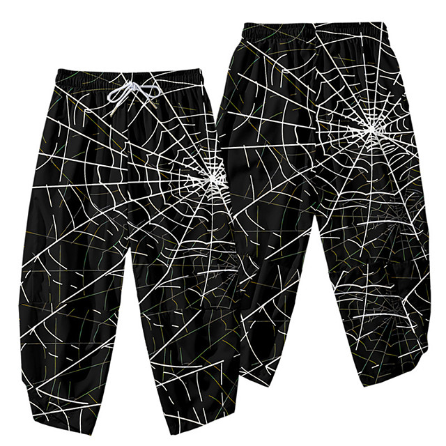 Casual / Sporty Athleisure Men's Wide Leg Daily Sports Pants Full Length Spider web Elastic Waist 3D Print Black