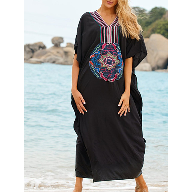 Women's Swimsuit Cover Up Beach Top Swimsuit Embroidery Slim Solid Color Abstract Big black embroidery on the chest Swimwear T shirt Dress Tunic V Wire Bathing Suits New Fashion Sexy