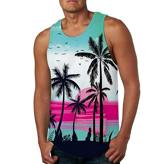 Men's Tank Top Vest Undershirt 3D Print Tree 3D Print Sleeveless Daily Tops Casual Beach Rainbow
