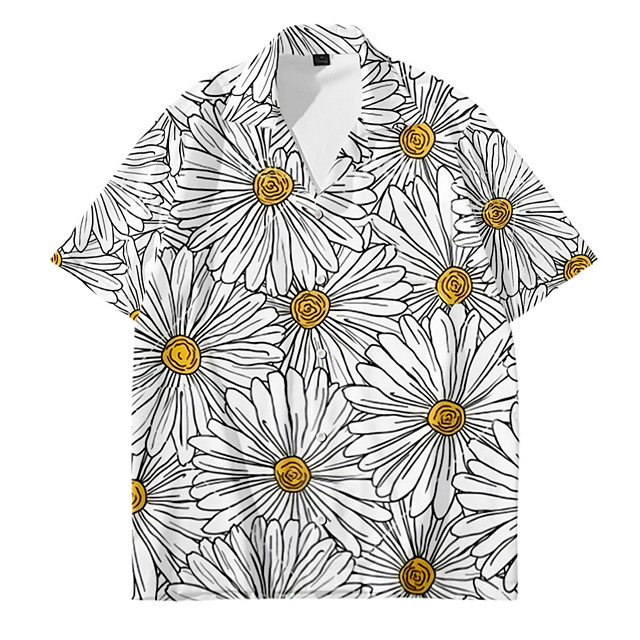 Shirt Men's Floral Daisy 3D Print Button-Down 3D Print Casual Short Sleeve Tops Casual Fashion Breathable Comfortable Gray
