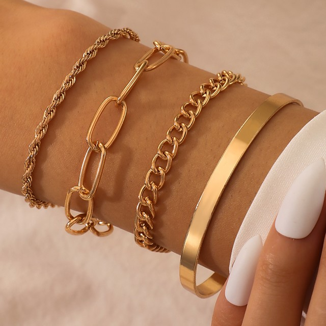 Women's Chain Bracelet Thick Chain Love Stylish Alloy Bracelet Jewelry Gold For Party Evening