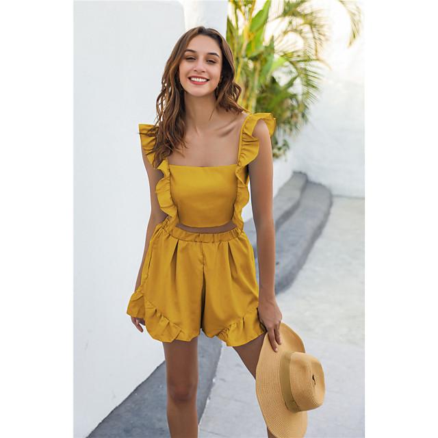Women's Basic Streetwear Plain Daily Two Piece Set Crop Shirred Cami Top Loungewear Shorts Ruffle Tops