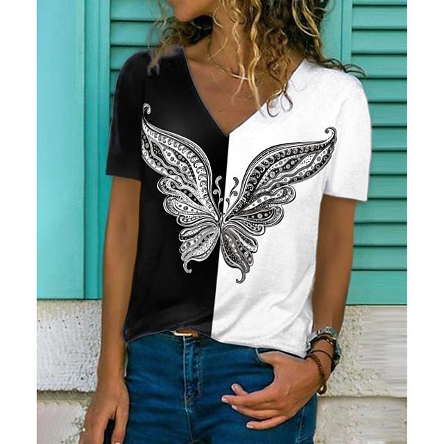 Women's T shirt Graphic Butterfly Color Block Print V Neck Tops Basic Basic Top Black