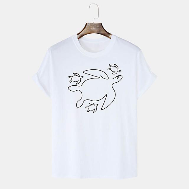 Men's Unisex T shirt Hot Stamping Graphic Prints Animal Plus Size Print Short Sleeve Daily Tops 100% Cotton Basic Casual White Black Blushing Pink