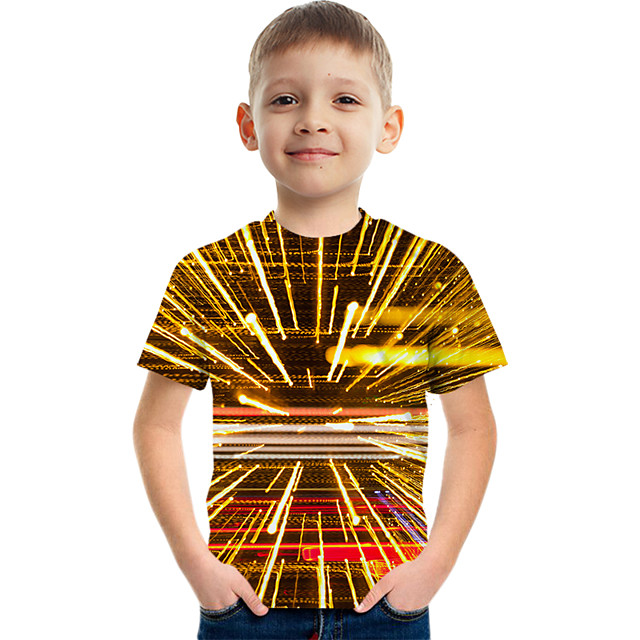 Kids Boys' Tee Short Sleeve Graphic Children Tops Active Gold