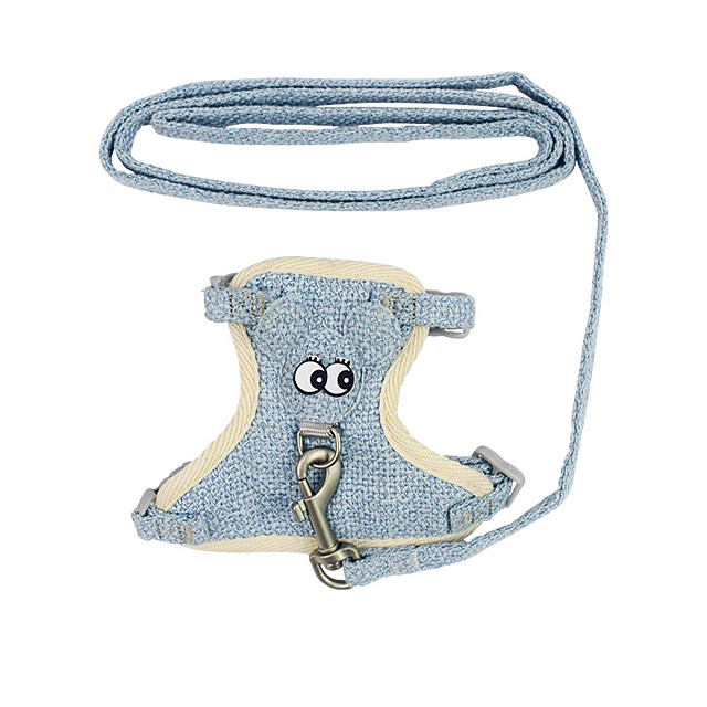Dog Cat Harness Training Leash Harness Leash Set Adjustable Breathable Escape Proof Outdoor Walking Big Eyes Nylon Small Dog Blue Pink Coffee