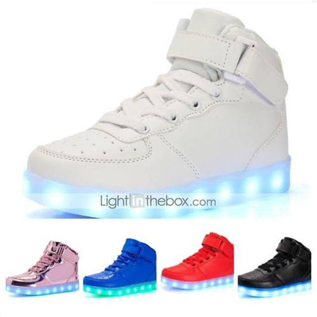 Jongens Voor meisjes Sneakers LED Comfortabel Oplichtende schoenen Kunstleer Kleine kinderen (4-7ys) Grote kinderen (7 jaar +) Informeel ulko- Wandelen Veters Haak & Lus LED Wit Zwart Rood Lente