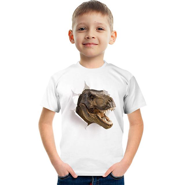 Kids Boys' T shirt Tee Short Sleeve Dinosaur Graphic Animal Children Tops Active White
