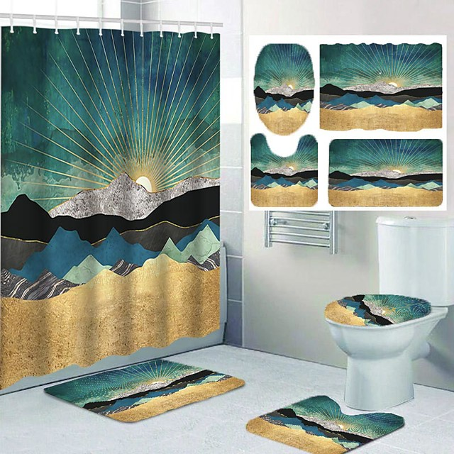 Shower Curtains & Hooks Bathroom Polyester Casual Waterproof