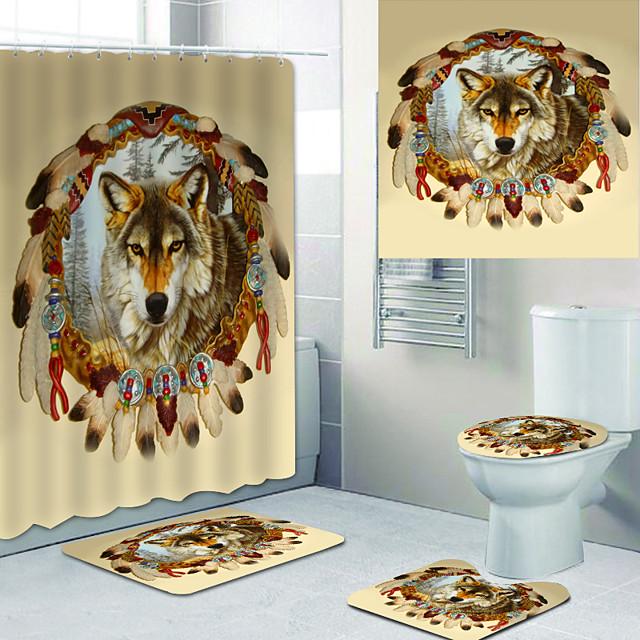 Bathroom Shower Curtains & Hooks Rainbow Neoclassical Polyester Waterproof