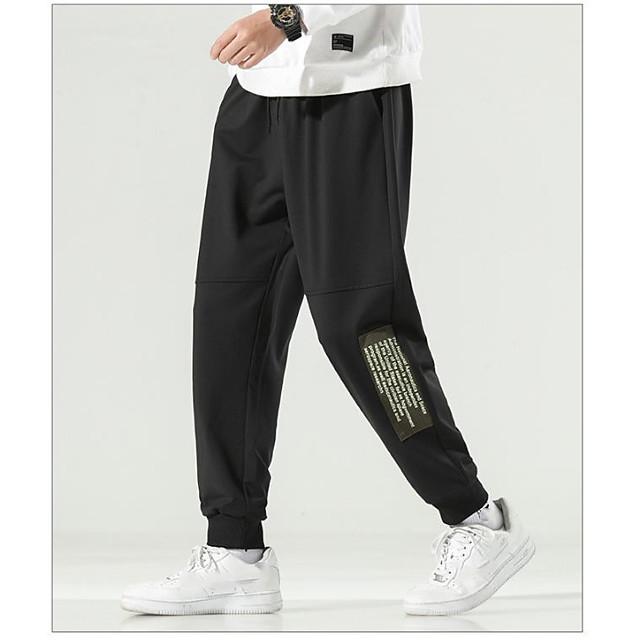Chino Men's Sweatpants Pants Ankle-Length Letter Black