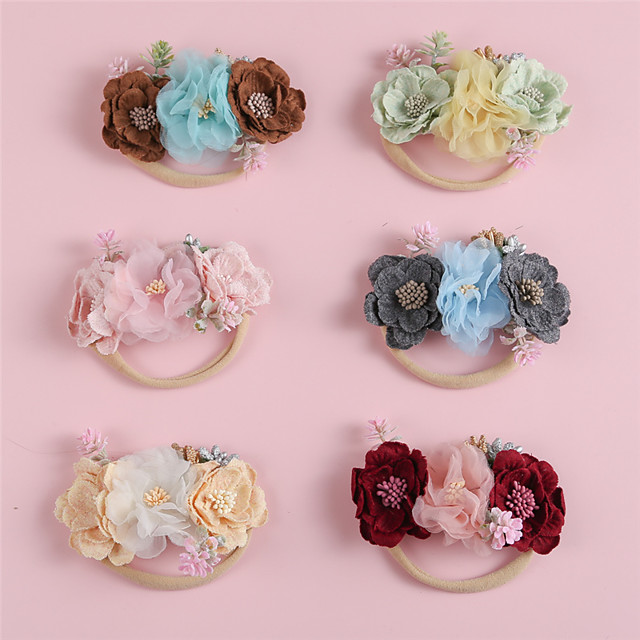 1pcs Infant Girls' Active / Sweet Red Floral Floral Style Polyester Hair Accessories Red / Yellow / Blushing Pink One-Size