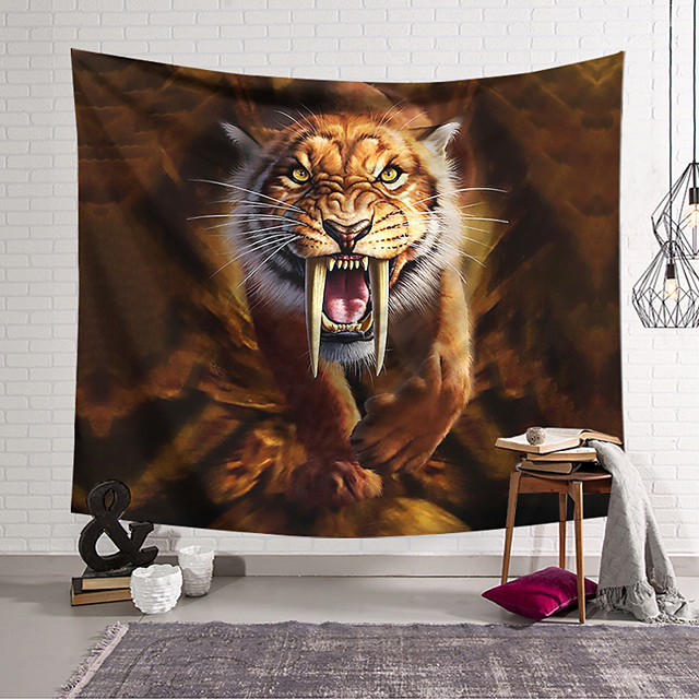 Wall Tapestry Art Decor Blanket Curtain Hanging Home Bedroom Living Room Tiger Animal  Psychedelic