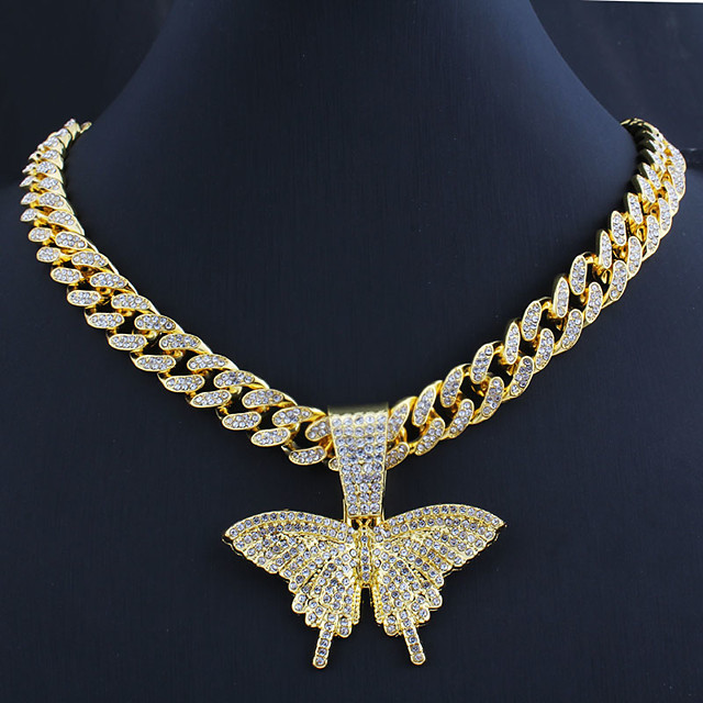 Men's Women's Necklace Cuban Link Butterfly Trendy Alloy Gold Silver 55 cm Necklace Jewelry 1pc For Gift