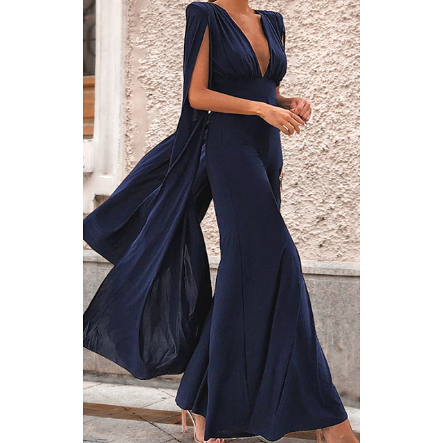 Women's Sophisticated Dusty Blue Jumpsuit Solid Colored Backless