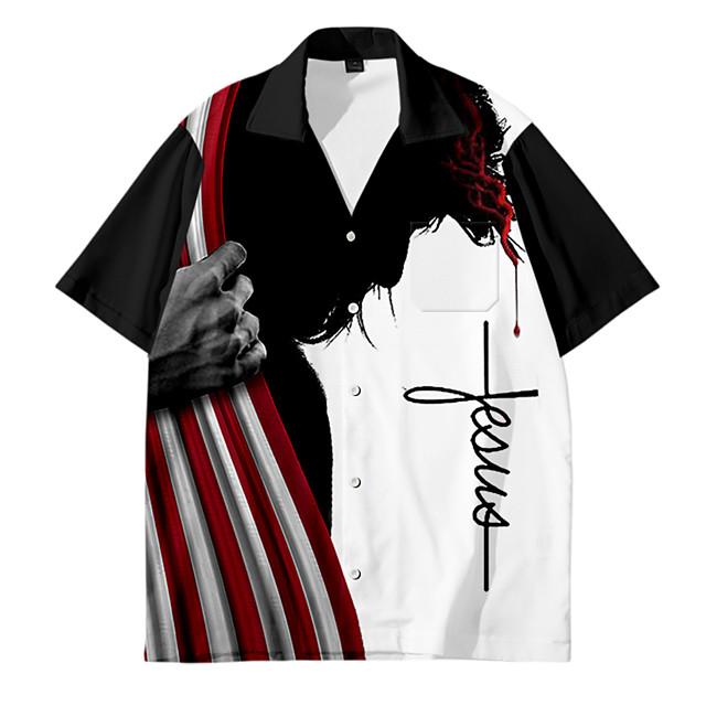 قميص رجالي Shadow طباعة ثلاثية الأبعاد زر أسفل طباعة ثلاثية الأبعاد فضفاض كم قصير قمم كاجوال موضة متنفس مريح أسود